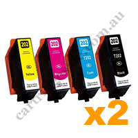 2 Sets Compatible Epson 202XL High Yield Ink Cartridges BK/C/M/Y