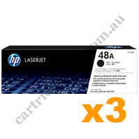 3 x Genuine HP CF248A 48A Black Toner Cartridge