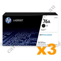 3 x Genuine HP CF276A 76A Black Toner Cartridge