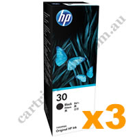 3 x Genuine HP 30 (1VU29AA) Black Ink Bottle