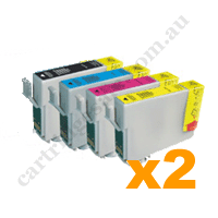 2 Sets Compatible Epson 702XL/T3451-4 B/C/M/Y High Yield Ink Car