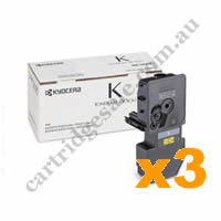 3 x Genuine Kyocera TK5224K Black Toner Cartridge
