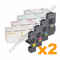 2 Sets Genuine Kyocera TK5224K,C,M,Y Toner Cartridges